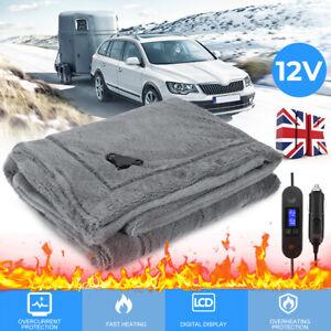 12V LARGE ELECTRIC HEATED CAR TRUCK COSY WARM BLANKET TRAVEL FLEECE GREY UK