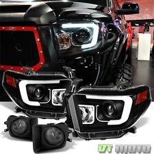 "For 2014-2017 Toyota Tundra ""LED Light Bar"" Projector Headlights+Smoke Fog Lamps"