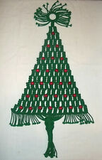 """Vintage 29"""" Green Macrame Christmas Tree Wall Hanging with Red Wood Beads"""