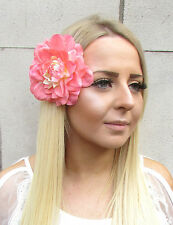 Large Peach Pink Dahlia Flower Hair Clip Rockabilly 1950s Rose Big Vintage 1553