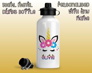 Personalised Metal Unicorn Eyelashes Water Bottle Girl Kids School nursery flask