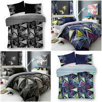 Pop Triangle Print Duvet Quilted Cover Bedding Set Reversible Single Double King