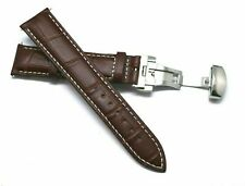 20mm Brown/White Quality Croco Embossed Leather Watch Band With Butterfly Clasp