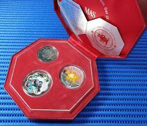 2009 Singapore Lunar Ox Series Coin Set (2) $10 Silver Piedfort Proof Coin