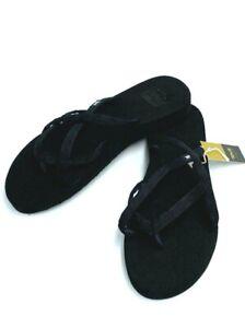 NWT Teva Womens 11 Olowahu Mbob Solid Black Strappy Sandals Flip Flops