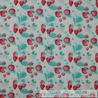 BonEful FABRIC FQ Cotton Quilt Mint Green Red Strawberry Garden Leaf Flower Girl