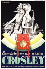 1929 MAUZAN Art Deco Crosley Radio Poster 13 x 19 Giclee Print