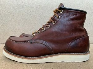 """Red Wing Shoes Men's 6"""" Moc Toe Brown/red Leather Boots 8138 USA 8 D"""