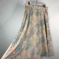 Vintage 80s Jantzen Classics Pink Blue Pastel Floral Patchwork Midi Skirt Sz 12
