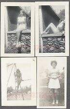 Lot of 4 Vintage 1940s Photos Pretty Girls in Pin Up Swimsuits 740823
