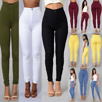 Womens Skinny Pencil Pants High Waisted Stretch Slim Fit Denim Jeans Trousers