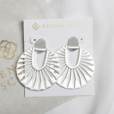 NEW Kendra Scott Didi Sunburst Statement Silver Earrings In Bright