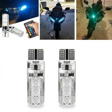 PAIR RGB T10 Motorcycle Car Side Light Strobe LED 6SMD Remote Control 12V