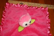Okie Dokie Pink Owl Security Lovey Blanket Rattle Plush Toy Satin Ruffle