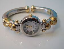 Designer cable silver and gold finish bangle women's fashion watch