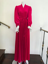 Lucie Ann Beverly Hills velvet hot pink robe with puff sleeves and braid belt