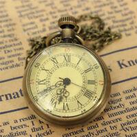 Retro Vintage Bronze Glass Steampunk Pocket Watch Chain Necklace Pendant