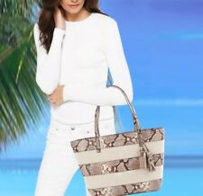 NWT $368 MICHAEL KORS Striped Leather Canvas Large East West Tote Natural Python