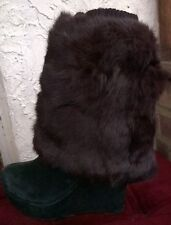dark brown real genuine rabbit fur pelt leg warmer boots shoes cover topper