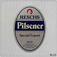 Reschs Pilsener Special Export 740ml Beer Label (BL16)