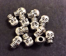 Skull Silver Plated Metal Bead - pk20 TB05