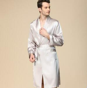 Men's Satin Silk Strap Kimono Pajamas Loose Bathrobe Robe Gown Nightwear Zha19