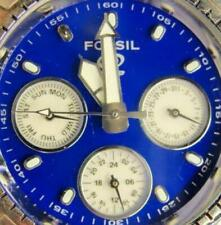 Fossil Blue Star Master WR100m Day Date SS Backlight New Battery Men Watch