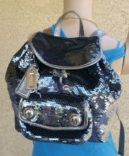 NEW Coach Poppy SEQUIN steel blue/silver Ltd Ed Backpack Purse satchel bag 16916