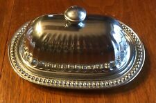 New ListingWilton Armetale Flutes & Pearls 2 Piece Covered Butter Dish Pewter
