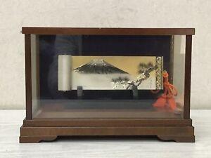 Y2677 OKIMONO Sterling Silver Scroll Mt.Fuji Pine glass case Japan antique decor