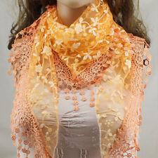 Women Lace Print Rose Flower Triangle Scarf Lady Tassel Shawl Wrap Mantilla US