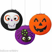 3 Assorted Halloween Spooky Friends Hanging Lantern Paper Ball Decorations