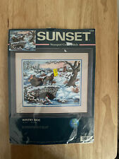 """Sunset Stamped Cross Stitch KIT Wintry Ride HORSE carriage  #13108 14X10"""" New"""