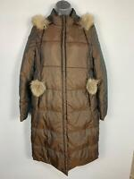 WOMENS VIA SPIGA BROWN CASUAL WINTER HOOD DOWN PADDED RAIN COAT JACKET SIZE XS