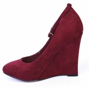 KG BY KURT GEIGER Wedge Shoes Red Suede Size 37 / UK 4 DL 117