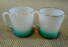 2 FIRE KING COFFEE MUGS 1950sTURQUOISE BLUE FADE, GOLD RIM, MILK GLASS, VINTAGE