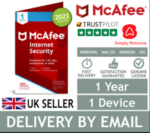 McAfee Internet Security 2021 - 1 Device - 1 Year - Fast Delivery by Email*