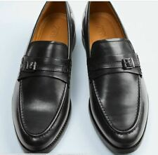 ZARA BLACK LEATHER LOAFERS WITH APPLIQUÉ