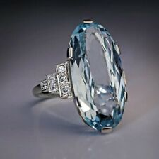 Fashion 925 Silver Sea Blue Topaz Ring Vine Diamond Jewelry Bridal Wedding Sz 7