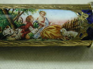 vintage Italy .800 Gilt silver Enameled hand chased Lipstick mirror holder