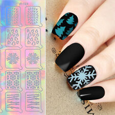 20Tips Holographic Nail Vinyls Xmas Snowflake Hollow Stencil Adhesive Stickers