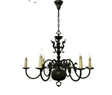 Flemish Dutch Chandelier 6 Arm Lights Seahorses Fish Sphinx Angels Country style