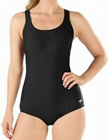 Speedo Black Women's Size 12 One-Piece Solid Cutout Stretch Swimwear $68 #607