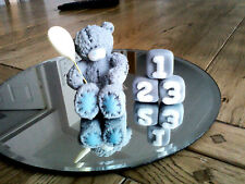 EDIBLE TATTY TEDDY BEAR CAKE TOPPER TEXTURED   BABY SHOWER/CHRISTENING BIRTHDAY