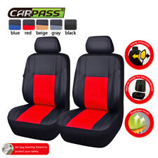 Universal 2 Front Car Seat Cover Red Airbag PU leather for Van Ford Nissan Honda