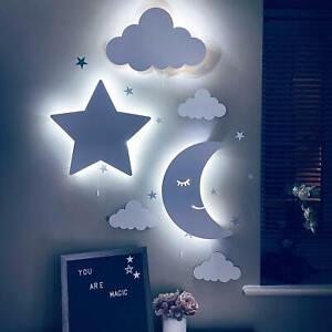 Childrens Night Lights Wooden 9V LED Kids Nursery Wall Decor Baby Shower Gift