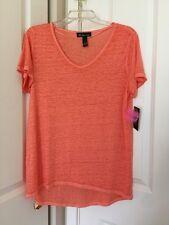 Womens INC Coral Melon Short Sleeve V-Neck Low-Hight Hem Top Sz L