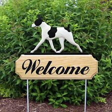 Rat Terrier Oak Wood Welcome Outdoor Yard Sign Black/White