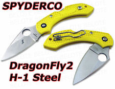 Spyderco Yellow FRN DragonFly 2 H1 Steel Plain C28PYL2