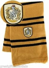 HARRY POTTER *LICENSED* Hufflepuff House *REAL* LAMBS WOOL SCARF w/ CREST NEW!